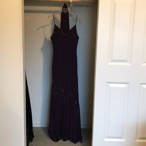 Full length purple sequined dress with scarf